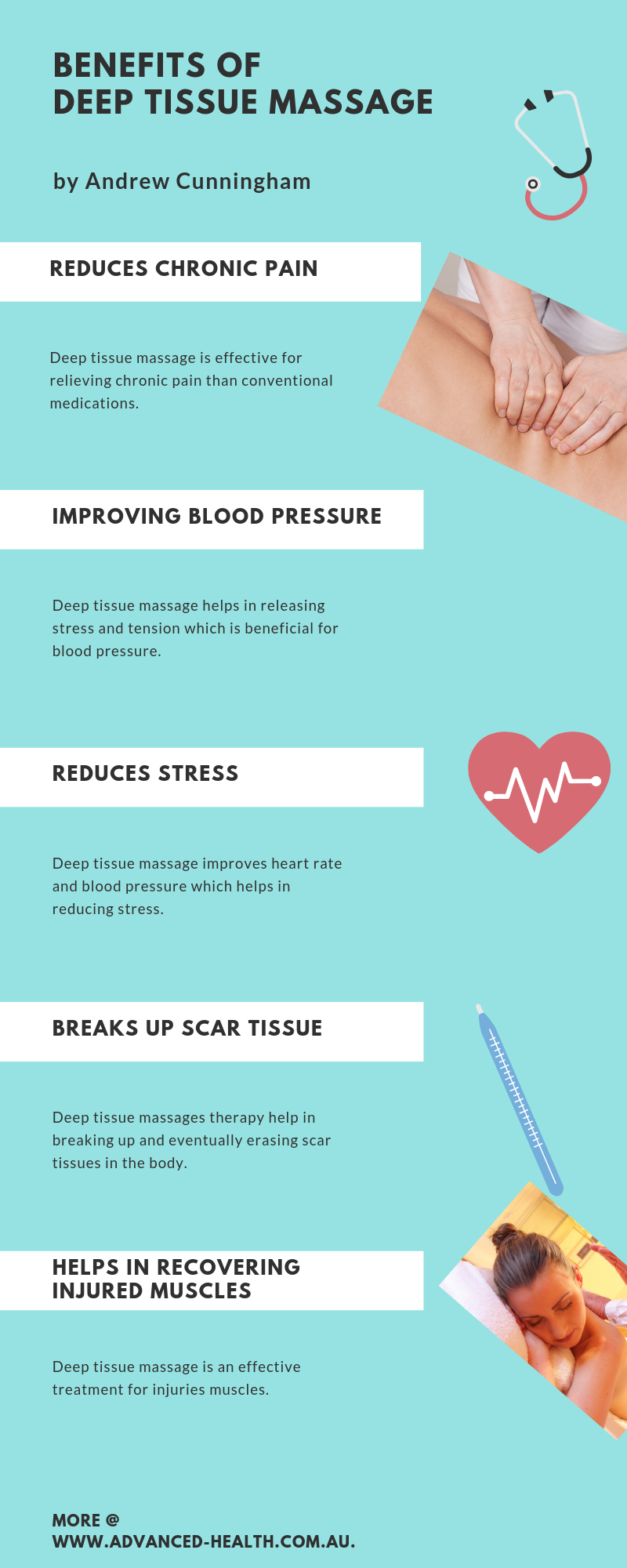 Infographics - Benefits of Deep Tissue Massage - Advanced Health Preston